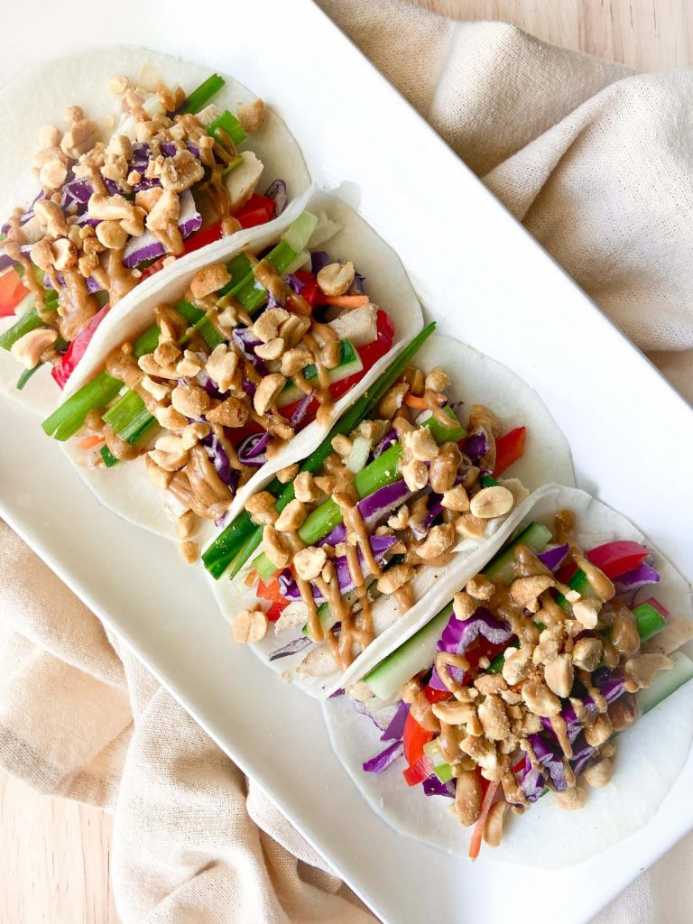 A tray of completed jicama tacos.