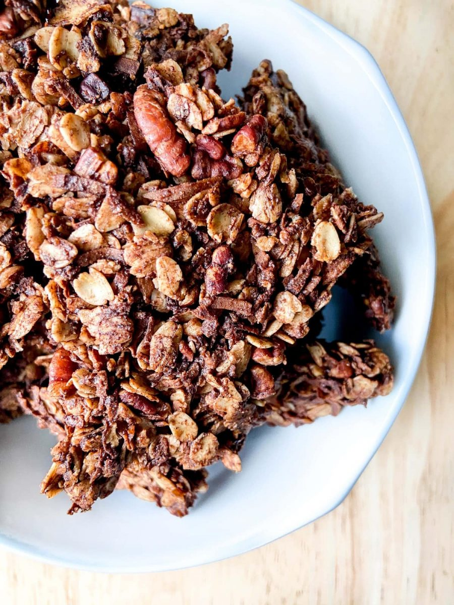 Chocolate Coconut Pecan Granola Clusters in a bowl