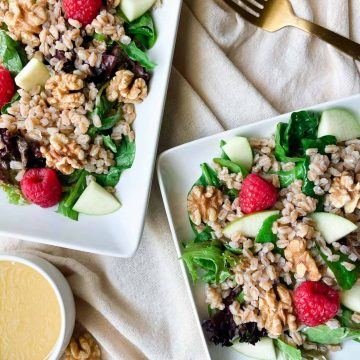 Farro Salad with Fruit and Honey Mustard Dressing