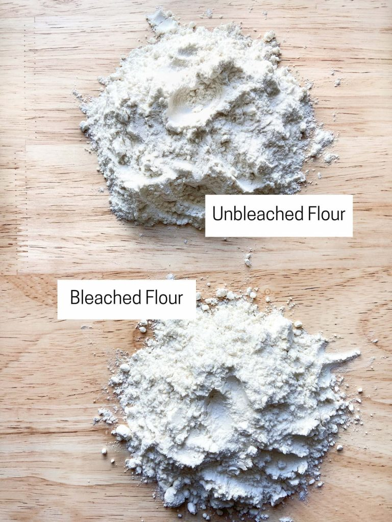 A small pile of both bleached and unbleached flours.