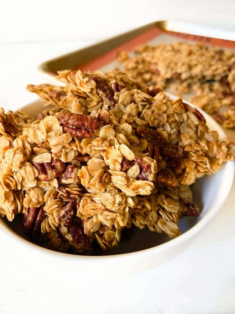 granola clusters set in a bowl
