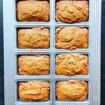 tray of mini pumpkin bread loaves