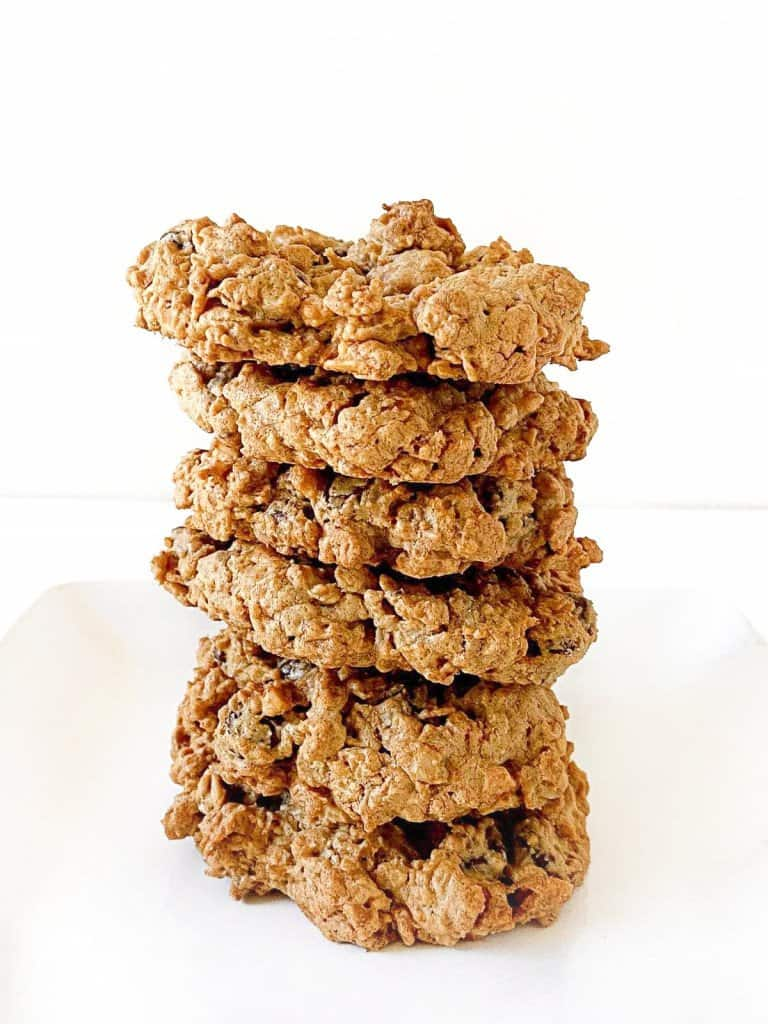 A stack of peanut butter oatmeal cookies