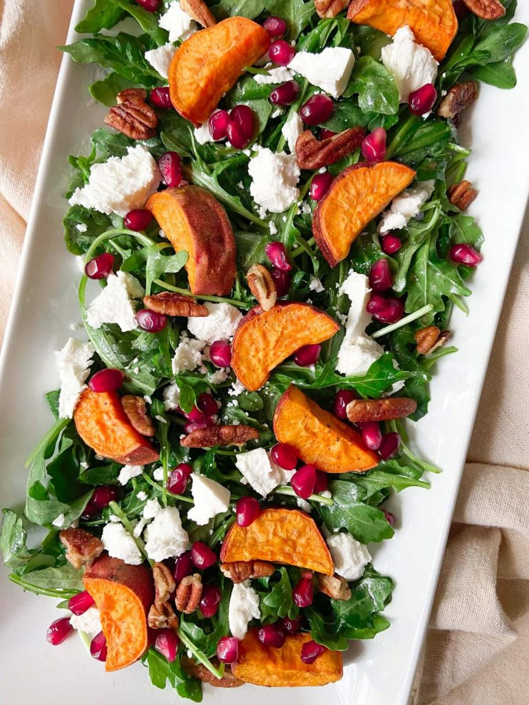 a tray of simple autumn salad
