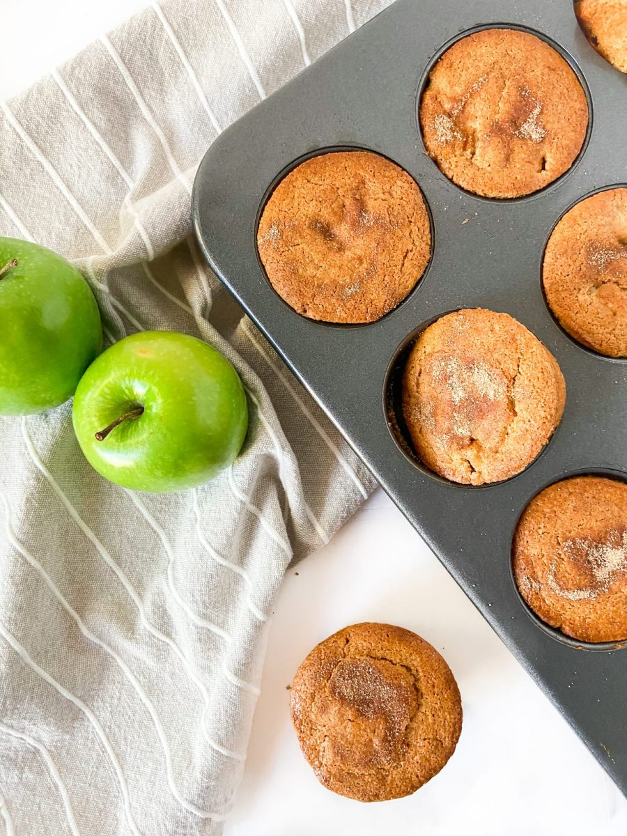 a tray of Apple Cinnamon Protein Muffins
