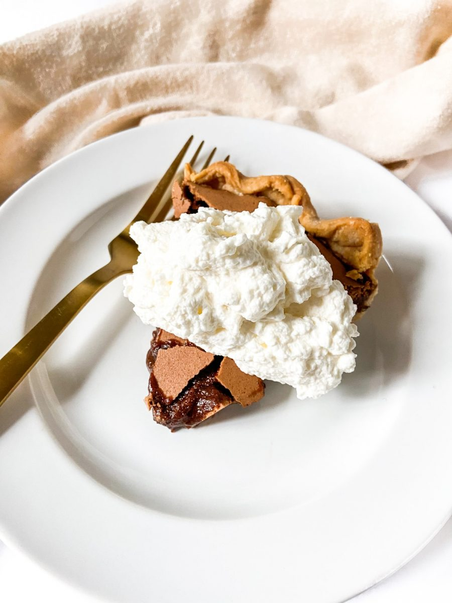 a slice of chocolate chess pie