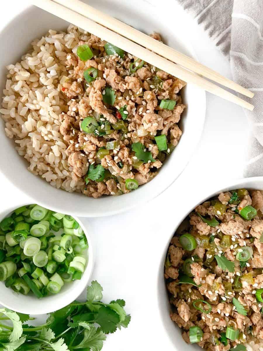 spicy Asian Turkey rice bowls