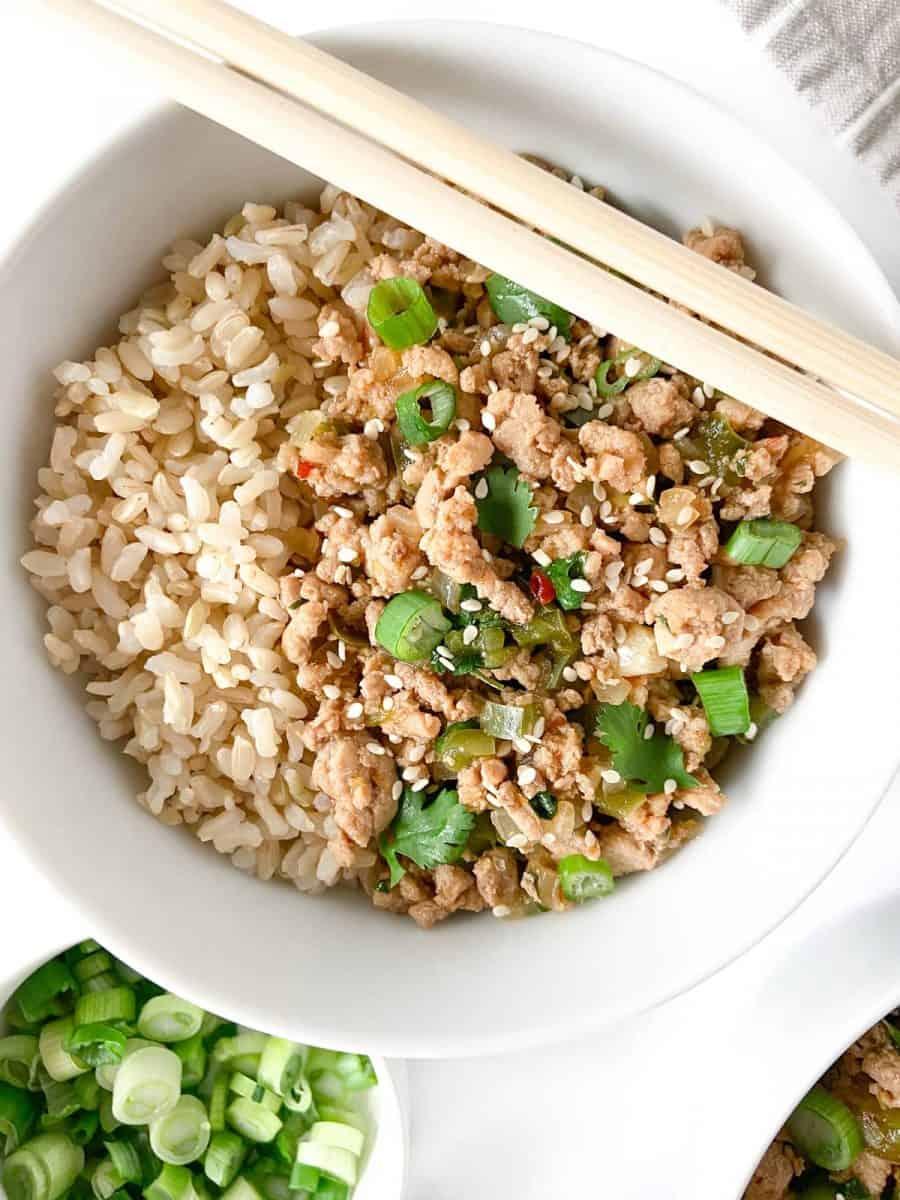 spicy asian turkey rice bowl