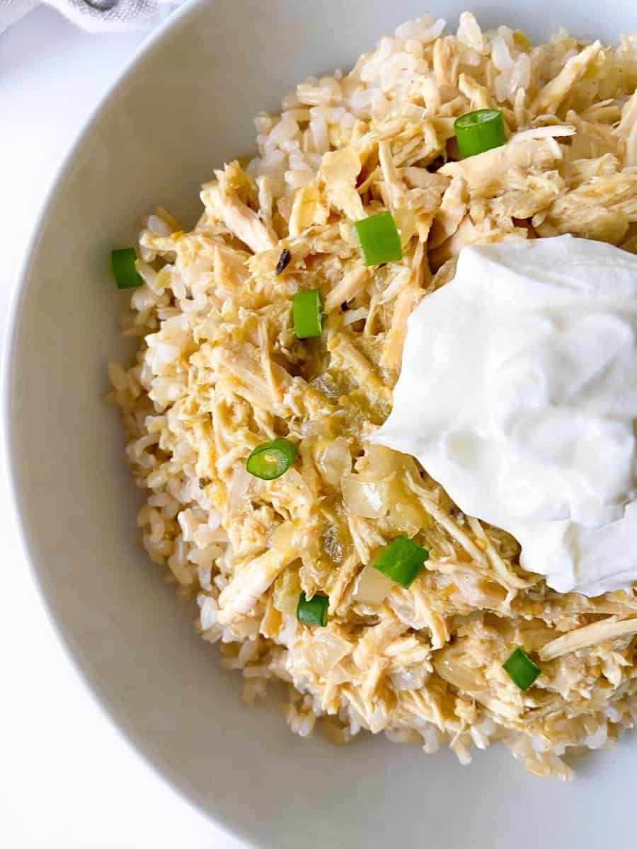 salsa verde chicken with Greek Yogurt, scallions, and brown rice