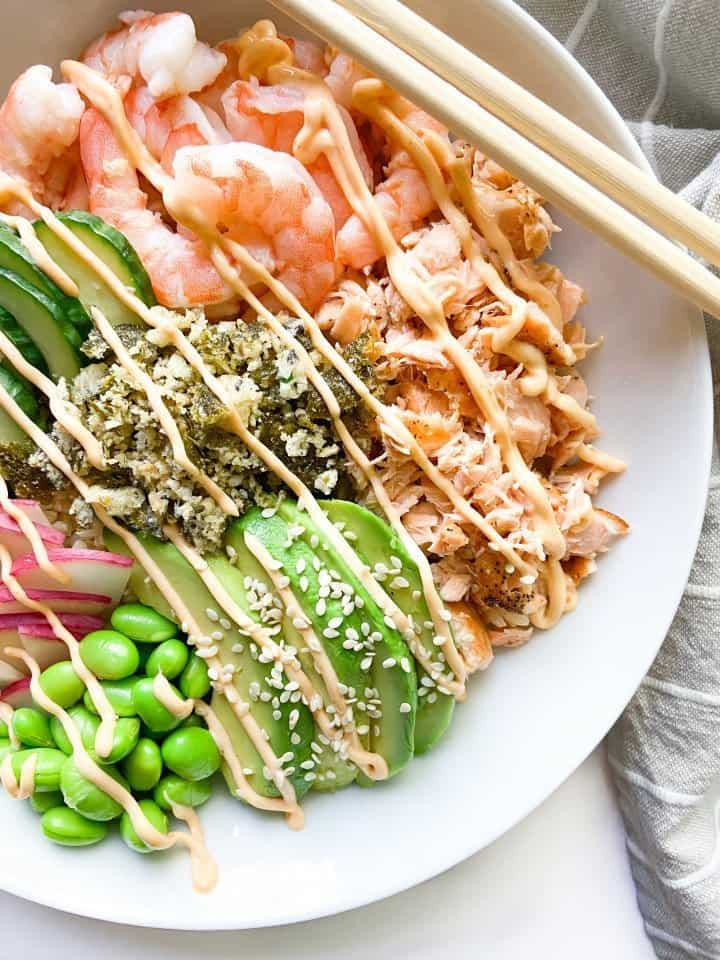 Poke Bowl with cooked shrimp and salmon