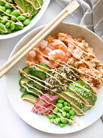A completed Poke Bowl with chopsticks
