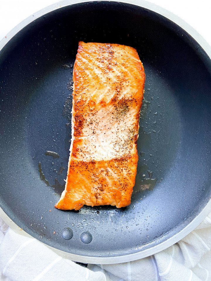 One cooked salmon filet