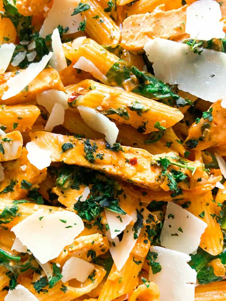 A close-up shot of creamy chicken pasta.