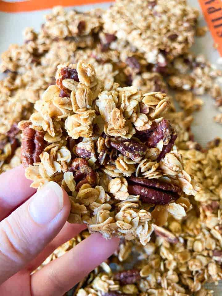 A hand holding a granola cluster.