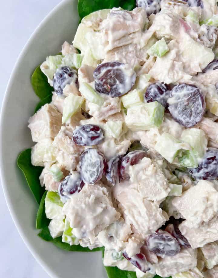 A close-up of chicken Waldorf salad.