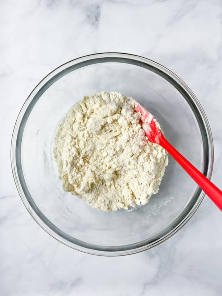 A bowl of scone dough.