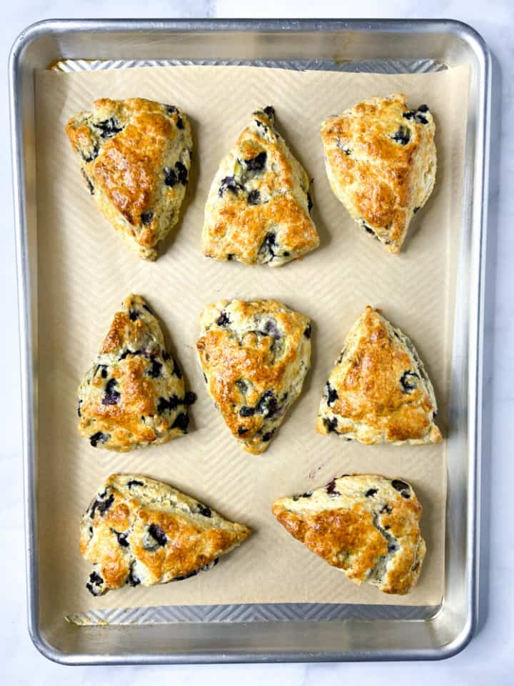 A tray of baked scones.